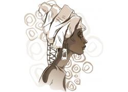 黑人女性插画图片