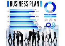 蓝色商务表柱与商务人物
