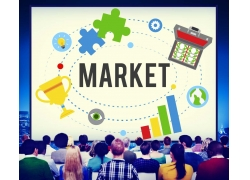 一群学习的商务人物和商务图标