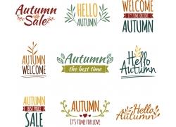 秋天主题英文字母标志
