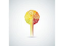 秋天卷纹树标志
