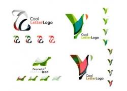 彩色立体V字母标志