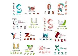 彩色立体曲线字母标志