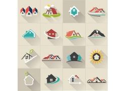 彩色房屋地产标志