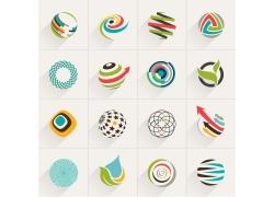 彩色球形曲线箭头标志