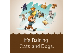 打着雨伞的男孩与动物