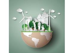地球与城市环保贴画