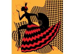 跳扇子舞的女性插画图片