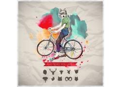 骑自行车的卡通人物漫画图片