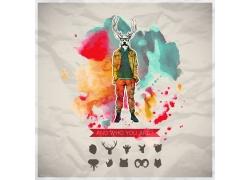 麋鹿头男性插画图片