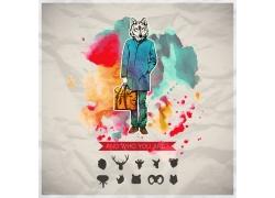 狼头男性插画图片