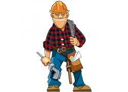 卡通装修工人插画图片