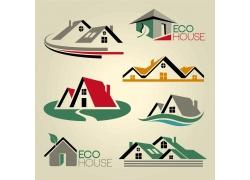 彩色别墅房屋标志