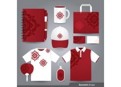 红色花纹vi设计