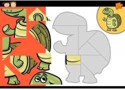 卡通乌龟拼图图片
