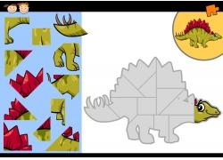 卡通恐龙拼图图片