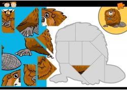 卡通松鼠拼图图片
