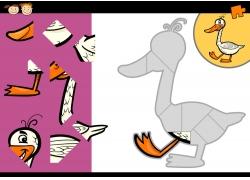 卡通鸭子拼图图片