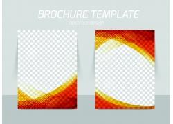 橙色曲线折页传单图片
