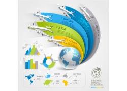 蓝色地球飞机箭头信息图表