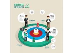 彩色圆环商务男人信息图表