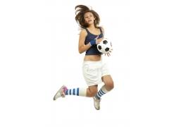 跳跃的足球宝贝女孩图片