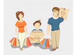 购物的家庭人物漫画图片