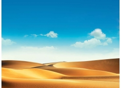 蓝天白云下的沙漠