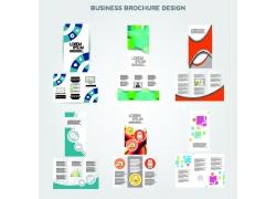 彩色商务几何图形三折页图片