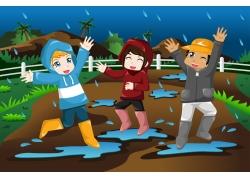 下雨天的卡通儿童图片