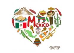 墨西哥元素心形插画