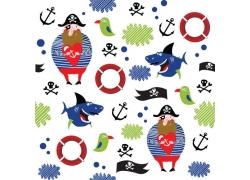 卡通鲨鱼海盗插画图片
