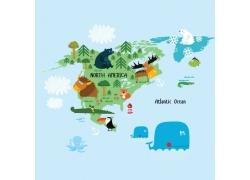 美洲地图与卡通动物图片