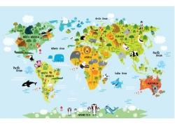 卡通动物世界插画图片