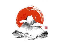 日本水墨山水画