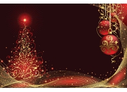 金色圣诞树线条背景