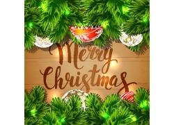 冷杉枝与圣诞球背景