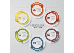 彩色立体圆环信息图表图
