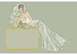 穿婚纱的新娘插画