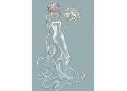 婚纱新娘插画