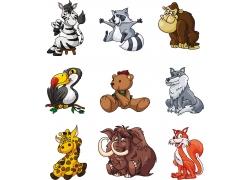可爱野生动物插画图片