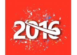 红色背景艺术2016年字体