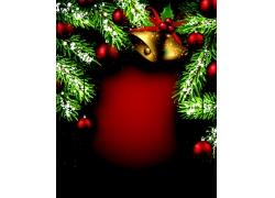 圣诞节冷杉枝圣诞球背景