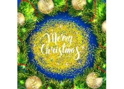 圣诞节艺术字与圣诞球背景
