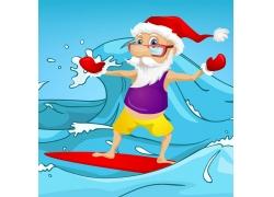 冲浪的圣诞老人