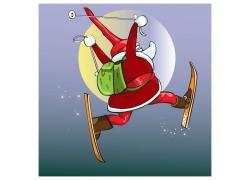 滑雪的圣诞老人