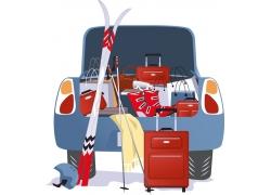 汽车里的滑雪装备