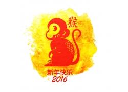 猴子剪纸新年素材