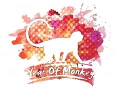 水彩笔触猴年海报