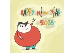 卡通人物新年快乐2016年字体
